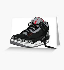 "Air Jordan 3 (III) ""BLACK & CEMENT"" Greeting Card"
