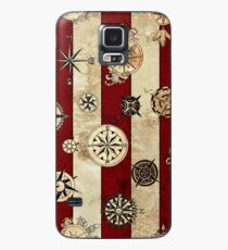 Vintage Red Stripes and Compass Case/Skin for Samsung Galaxy