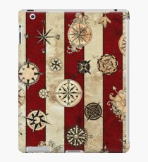 Vintage Red Stripes and Compass iPad Case/Skin