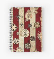 Vintage Red Stripes and Compass Spiral Notebook