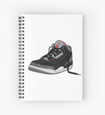 "Air Jordan 3 (III) ""BLACK & CEMENT"" Spiral Notebook"