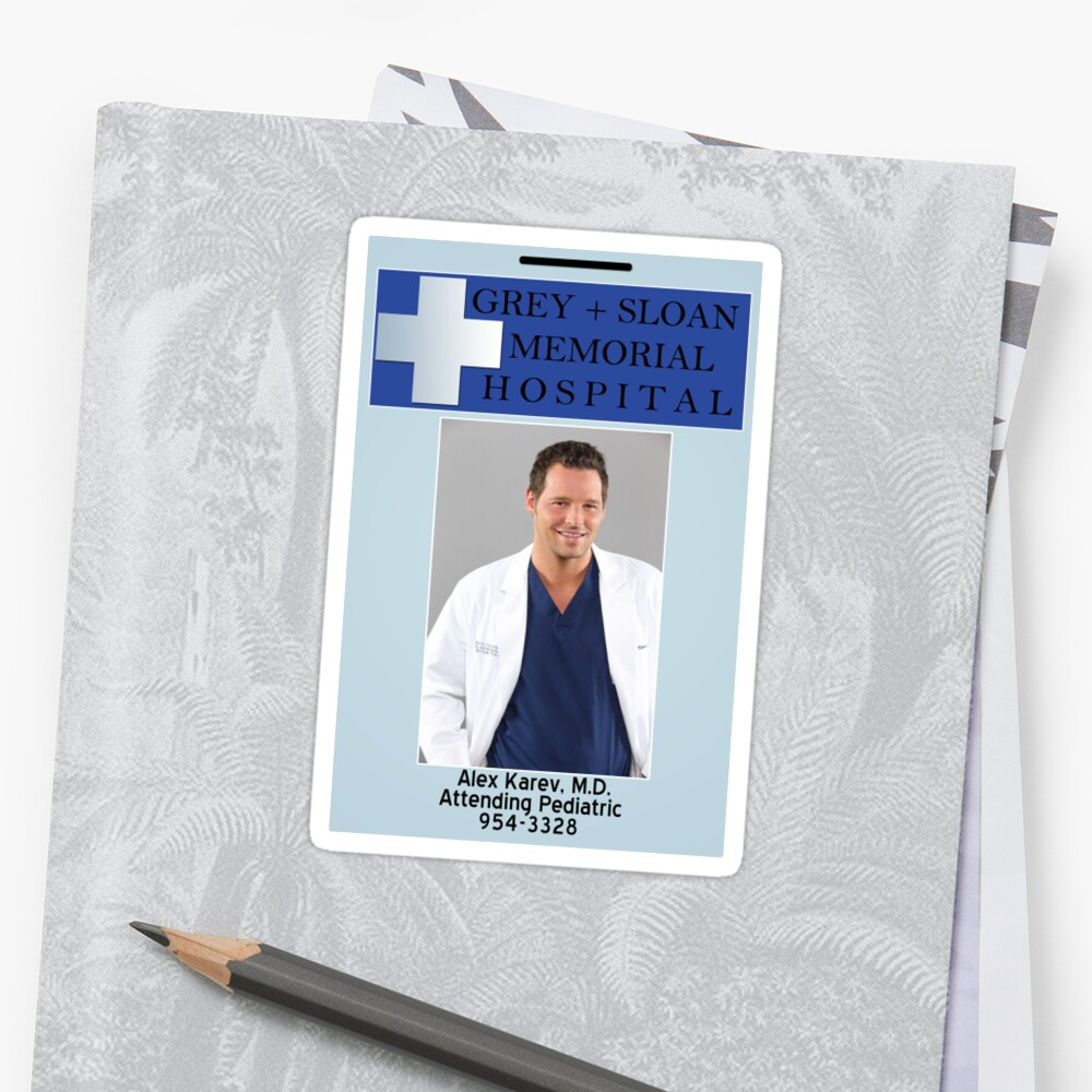Pegatinas «Alex Karev ID Badge» de linked-pinkies | Redbubble