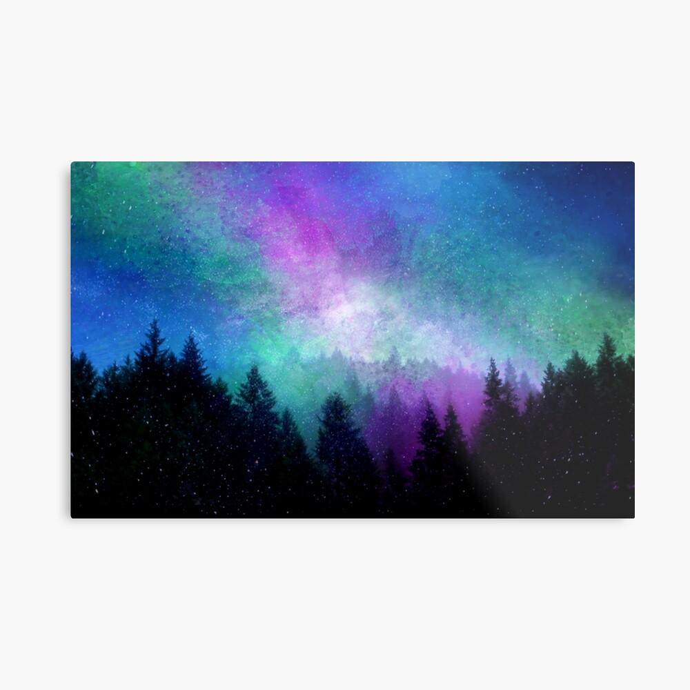 Aurora Borealis Nachthimmel Metallbild
