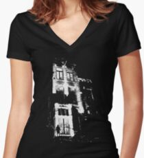 The door is open and the lights are on...  Women's Fitted V-Neck T-Shirt