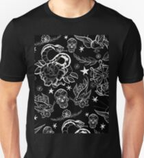 Black and White Inked Alternative Flash Pattern Unisex T-Shirt