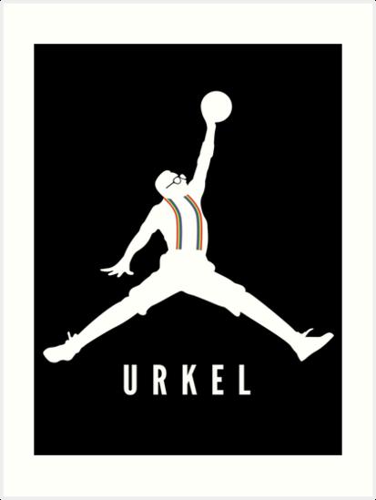steve urkel jumpman logo spoof 1 art prints by hanelyn redbubble