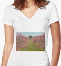 Peach Orchard at Work Women's Fitted V-Neck T-Shirt
