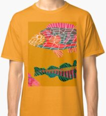 Colorful Abstract Fish Art Drawstring Bag in Yellow and Black  Classic T-Shirt