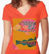 Colorful Abstract Fish Art Drawstring Bag in Yellow and Black  Women's Fitted V-Neck T-Shirt