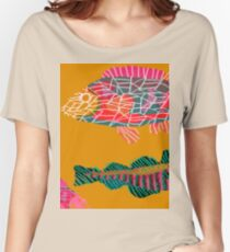 Colorful Abstract Fish Art Drawstring Bag in Yellow and Black  Women's Relaxed Fit T-Shirt