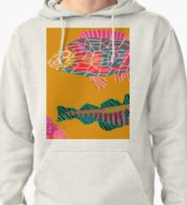 Colorful Abstract Fish Art Drawstring Bag in Yellow and Black  Pullover Hoodie