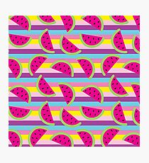 Summer Watermelon Stripes Photographic Print