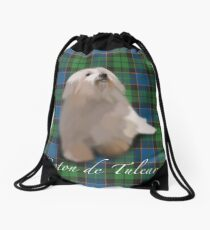 Coton de tulear on tartan Drawstring Bag