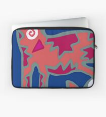 Colorful Abstract Art Throw Pillow in Blue, Pink and Orange Laptop Sleeve