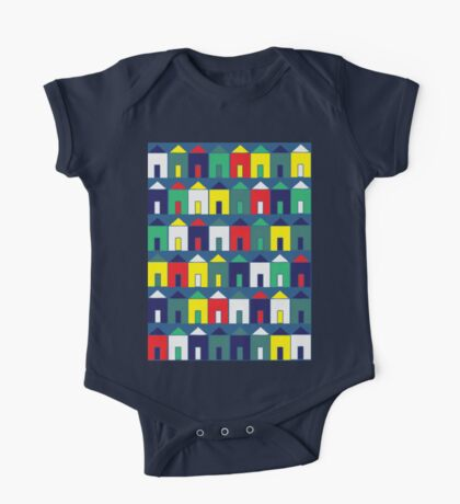 Beach Huts - Blue, Red, White and Yellow - fun pattern by Cecca Designs Kids Clothes