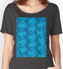Blue Tropical Fish Abstract Art Throw Pillow Women's Relaxed Fit T-Shirt