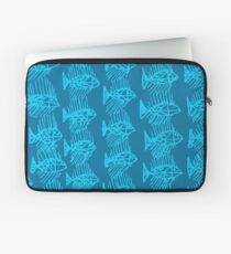 Blue Tropical Fish Abstract Art Throw Pillow Laptop Sleeve