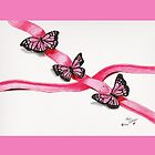 Pink Butterflies on Ribbon by Kevin Dellinger