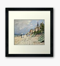 Claude Monet - Beach At Trouville 1870. Famous Paintings. Impressionism Framed Print