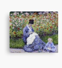 Claude Monet - Camille Monet And A Child In The Artist S Garden In Argenteuil 1875 Impressionism Canvas Print