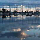 Reflecting on Boats and Clouds - Blue Marina  by Georgia Mizuleva