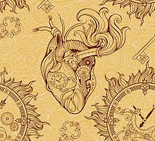 Pattern of heart, clockwork and key in steampunk style by Nadiiaz