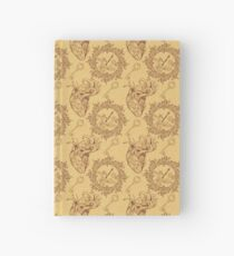 Pattern of heart, clockwork and key in steampunk style Hardcover Journal