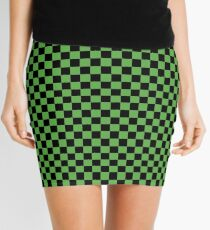 Spring Leaf Green and Black Classic Checkerboard Repeating Pattern Mini Skirt