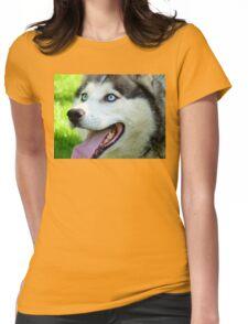 Micky Blue Eyes -Siberian Husky Dog - NZ Womens Fitted T-Shirt