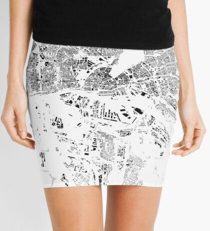 Hamburg Map Schwarzplan Only Buildings Urban Plan Mini Skirt