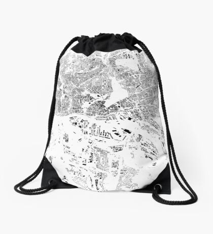 Hamburg Map Schwarzplan Only Buildings Urban Plan Drawstring Bag