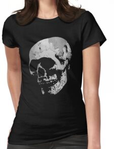 Skull - Cool Grunge Texture Skull Womens Fitted T-Shirt