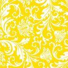 Yellow & White Elegant Floral Damasks by artonwear