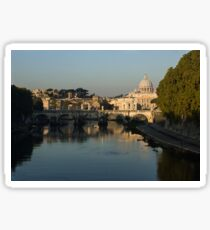 Rome - Iconic View of Saint Peter's Basilica Reflecting in Tiber River Sticker