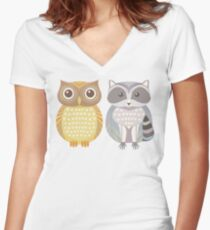 Owl & Raccoon Women's Fitted V-Neck T-Shirt