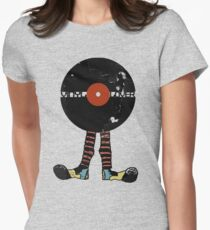 Funny Vinyl Records Lover - Grunge Vinyl Record Womens Fitted T-Shirt
