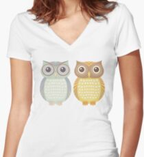 Cool Owl & Friendly Owl Women's Fitted V-Neck T-Shirt