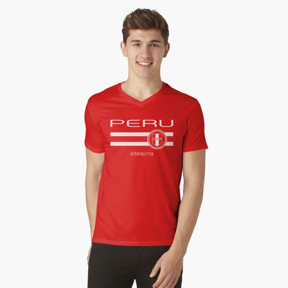Football - Peru (Home Red) Mens V-Neck T-Shirt Front