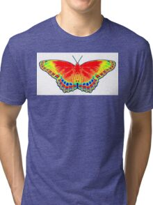 Colorful Butterfly - Red Tri-blend T-Shirt