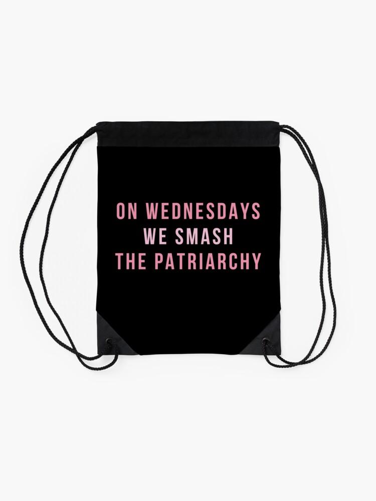 Alternate view of On Wednesdays We Smash The Patriarchy Drawstring Bag