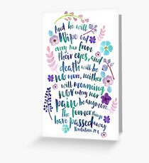 Revelation 21:4 (Purple Flowers) Greeting Card