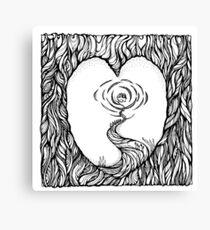 Abstract Meditation Black and White Art. Hand draw  ink and pen on textured paper Canvas Print