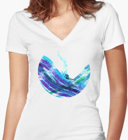 graphic wave Women's Fitted V-Neck T-Shirt