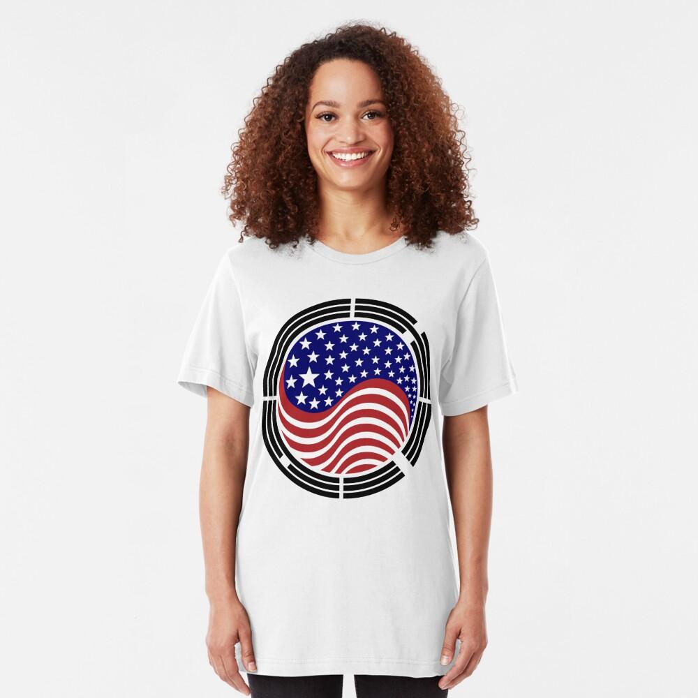 Korean American Multinational Patriot Flag Series Slim Fit T-Shirt