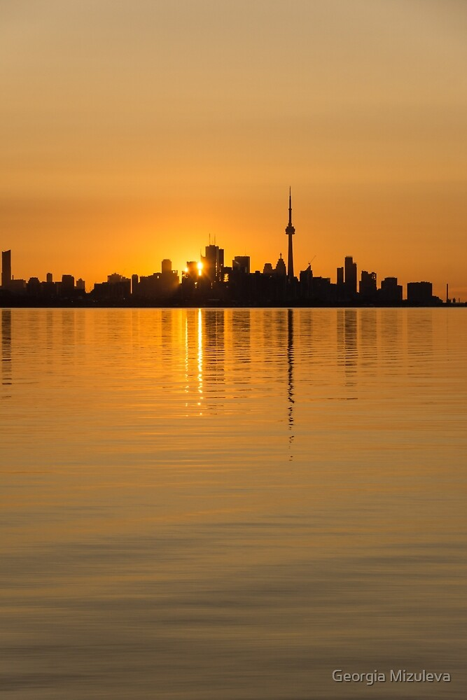 Brilliant Golden Yellow Toronto Skyline by Georgia Mizuleva