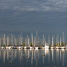 A Break in the Clouds - Gray Sky, White Yachts by Georgia Mizuleva