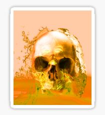 Golden Skull in Water Sticker