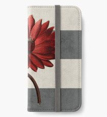 botanical stripes - red water lily iPhone Wallet/Case/Skin