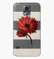 botanical stripes - red water lily Case/Skin for Samsung Galaxy