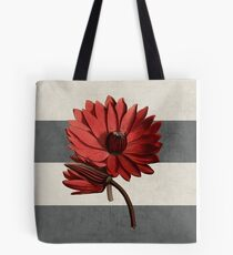 botanical stripes - red water lily Tote Bag